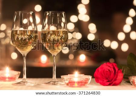Romantic dinner setting.  - stock photo