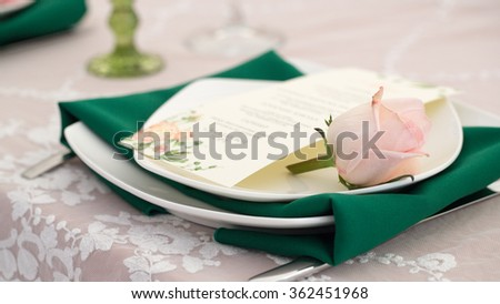 Romantic dinning setting with rose
