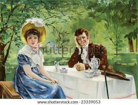 Romantic, engaged couple having a tea time discussion in an outdoor setting - a Victorian style illustration, circa 1830 - stock photo