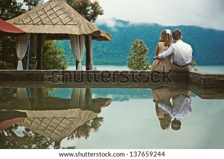 romantic evening at mountains - stock photo