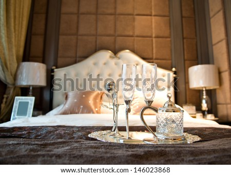 Romantic evening with champagne for Valentine's Day - stock photo