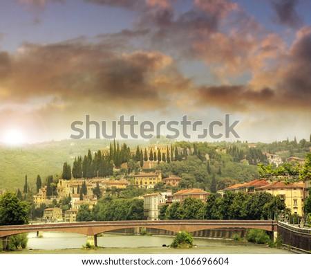 Romantic feeling landscape of Verona Italy - stock photo