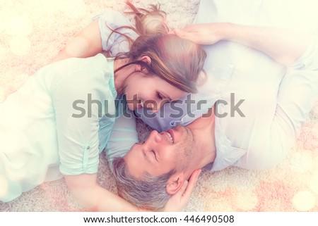 romantic flirting lovers at home - stock photo