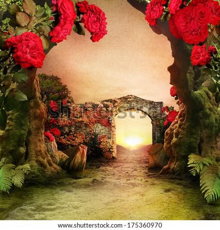 Romantic garden landscape - stock photo