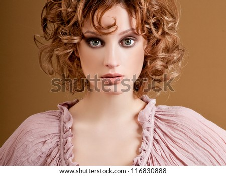 romantic girl with curls - stock photo