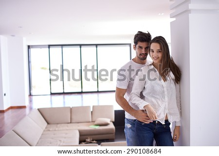 romantic happy young couple relax at modern bright  home  indoors - stock photo