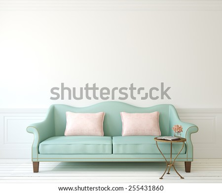Romantic interior with blue couch near empty white wall. 3d render. - stock photo