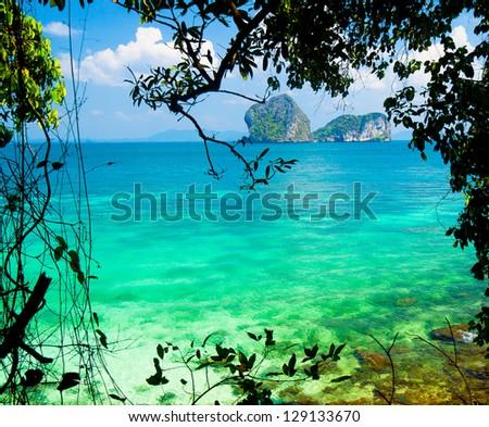 Romantic Island Exotic Beach - stock photo