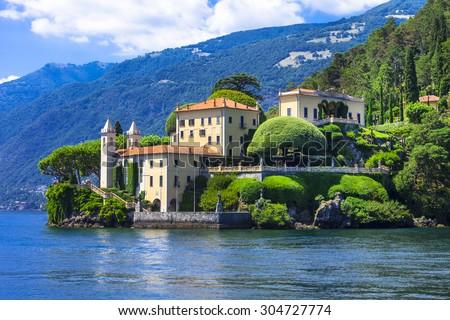 romantic Lago di Como - Villa del Balbinello. Italy - stock photo