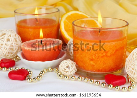 Romantic lighted candles close up - stock photo