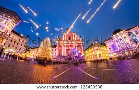 Romantic Ljubljana's city center  decorated for Christmas fairytale. Preseren's square, Ljubljana, Slovenia, Europe. - stock photo