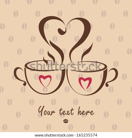 Romantic love dating icon with two coffee cups.  - stock photo