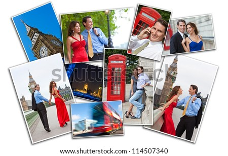 Romantic man and woman couple on vacation seeing the sights and landmarks in London, England, Great Britain - stock photo