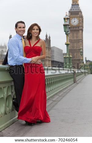 Romantic man and woman couple on Westminster Bridge with Big Ben in the background, London, England, Great Britain - stock photo