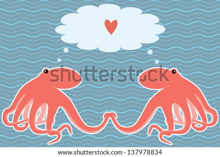 Romantic marine card with two octopuses. Raster version. - stock photo