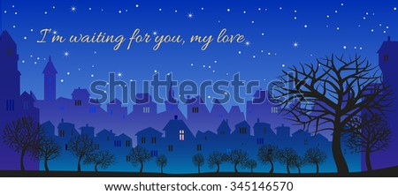 Romantic message, I'm waiting for you, my love. Original Postcard - stock photo