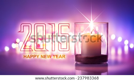 Romantic night with candlelight and bokeh background.Happy new year 2015 - stock photo