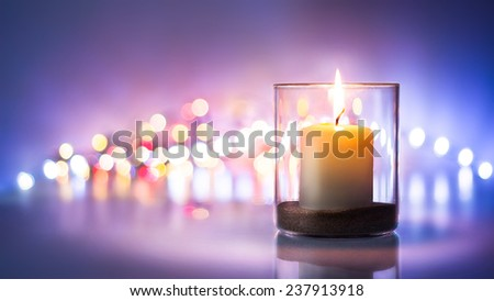 Romantic night with candlelight and bokeh background.New year or romantic valentine Day  - stock photo