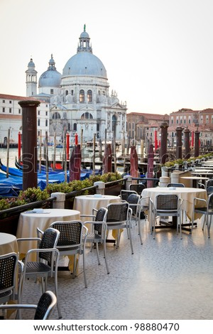 Romantic outdoor restaurant in Venice - stock photo