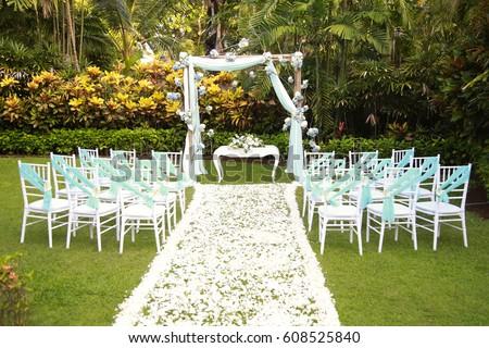 Romantic Outdoor Wedding Setup At The Garden