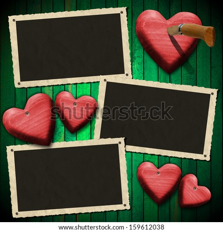 Romantic Photo Frames on Wood Green Wall / Three aged and romantic photo frames on wooden green background with red hearts and folding knife - stock photo