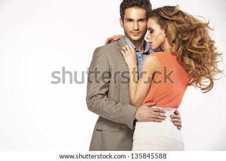Romantic photo of a young couple - stock photo
