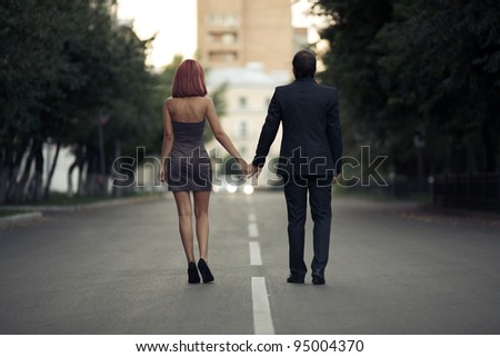 romantic photos of couples in love on the street - stock photo