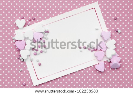 romantic pink card background for baby girl - stock photo