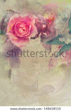 Romantic pink roses vintage background - stock photo