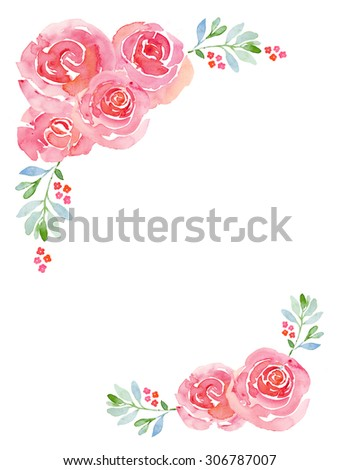 Romantic Pink Roses Watercolor Floral Background