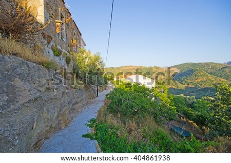 Romantic Polyrrhenia - village built on ancient city, Crete, Greece - stock photo