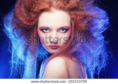 Romantic portrait of redhair woman in smoke - stock photo