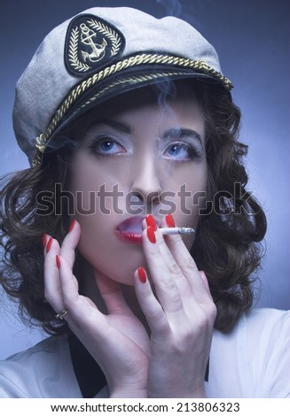 Romantic portrait of smoking woman in classical style.