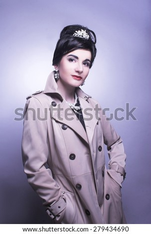 Romantic portrait of young brunette in retro style. - stock photo