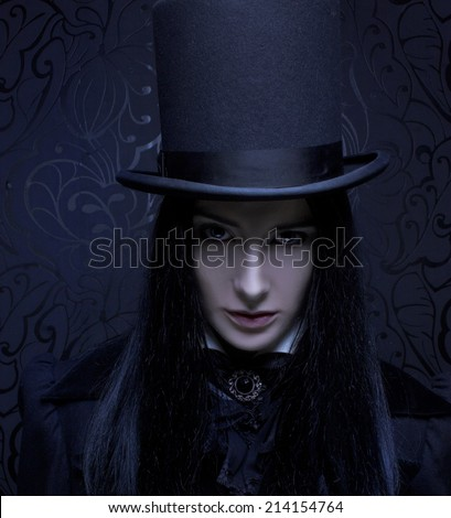 Romantic portrait of young woman in gothic man image.