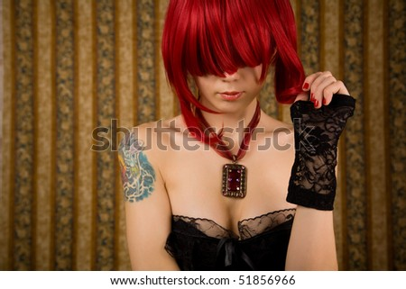 Romantic redhead woman, glamour background