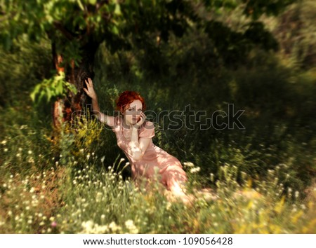 Romantic redhead young woman lying in a grass and flowers in the open air - stock photo