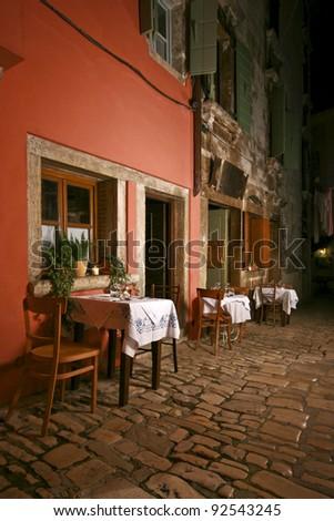 Romantic restaurant at night - stock photo