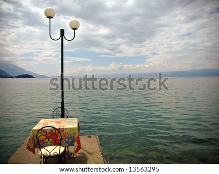 Romantic restaurant on Ohridsko lake in Macedonia.