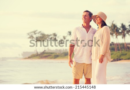 Romantic Retired Couple Relaxing on Vacation - stock photo