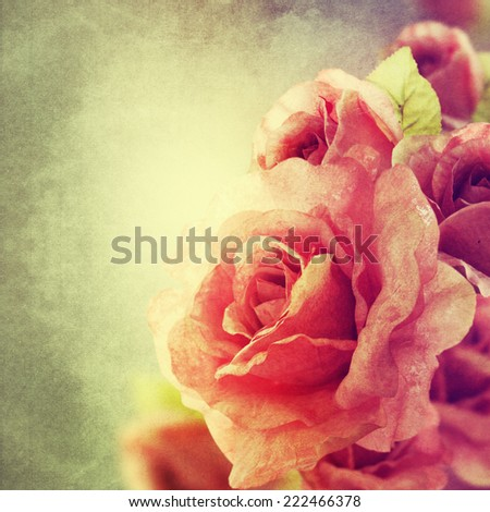 Romantic retro grunge background with roses  - stock photo