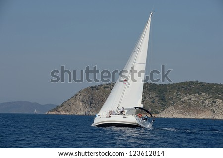 romantic sailing trip - stock photo
