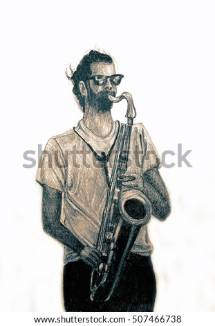 Romantic saxophone performer. Drawing of Street Musician. Illustration