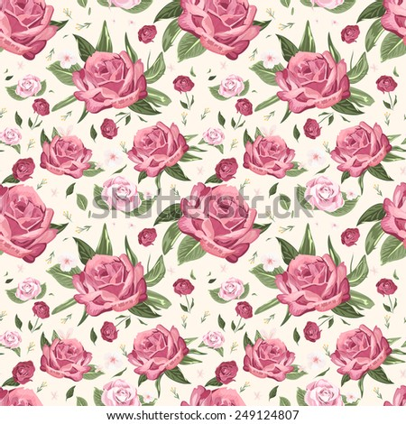 romantic seamless floral pattern background over beige