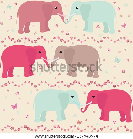 Romantic seamless pattern with elephants, flowers and hearts. Raster version. - stock photo