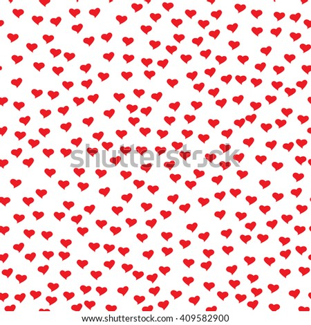 Romantic seamless pattern with tiny red hearts. Abstract repeating. Cute backdrop. White background. Template for Valentine's, Mother's Day, wedding, scrapbook, surface textures.  - stock photo