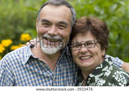 romantic senior couple - stock photo