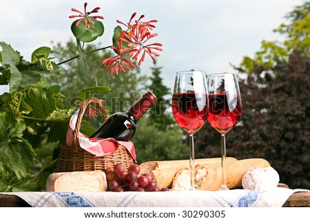Romantic setting with wine and food for two