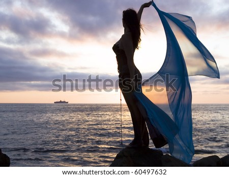 Romantic silhouette of the girl against a sea decline - stock photo