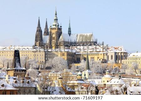Romantic Snowy Prague gothic Castle, Czech Republic - stock photo